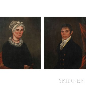 American School, 19th Century      Pair of Portraits of Mr. Daniel Spraker and His Wife Eliza.