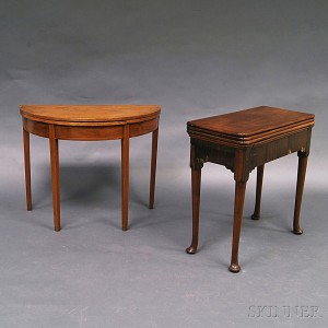 Queen Anne Mahogany and Mahogany Veneer Triple-top Games Table and a Card Table