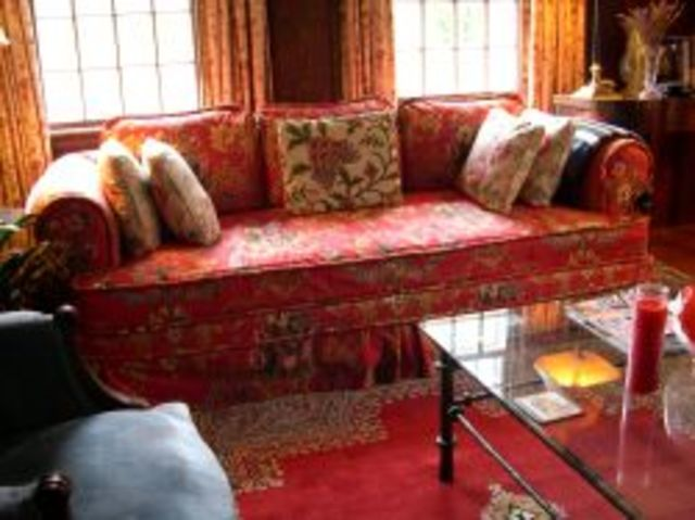 Terrific French Red Floral Cotton Slipcover Upholstered Sofa And Love Gmtry Best Dining Table And Chair Ideas Images Gmtryco