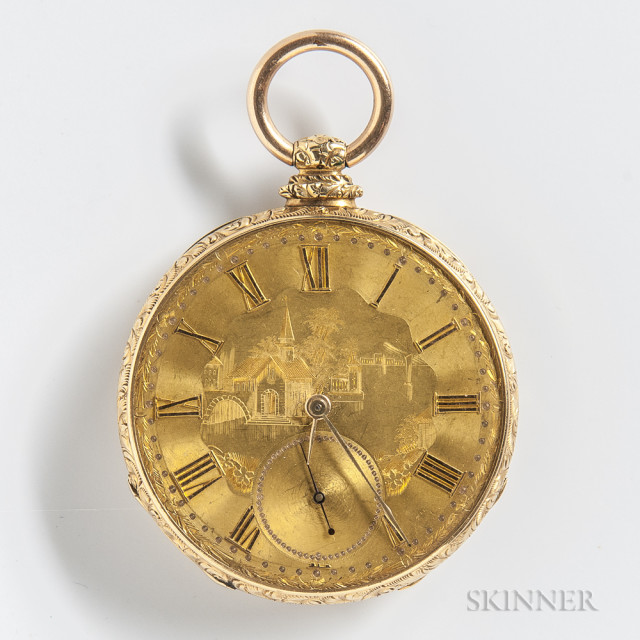Dubois, Jacot & Co. Open-face Watch, Locle, Switzerland, with engraved gold-tone dial with applied roman numerals, cuvette engraved
