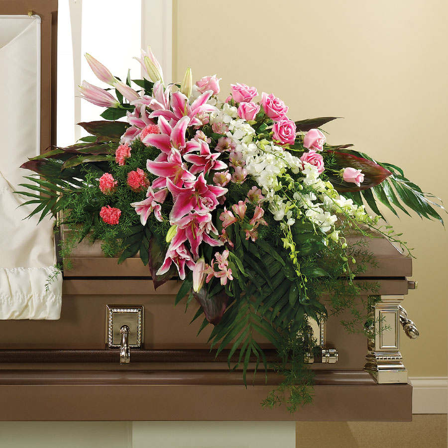 Pink lilies and pink roses casket cover freeport ny florist mightylinksfo