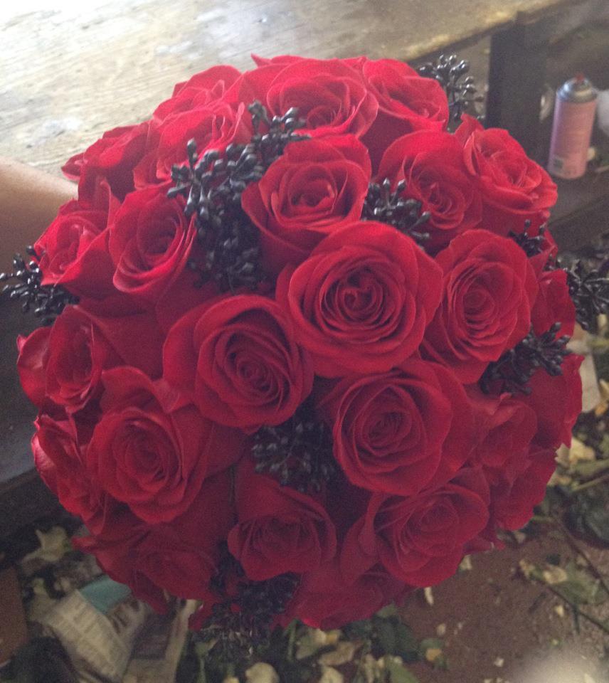 all red bridal bouquet - Commerce, CA Florist