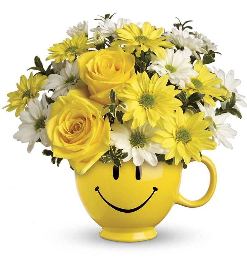 Be Happy Bouquet with yellow Roses - Brooklyn, NY Florist