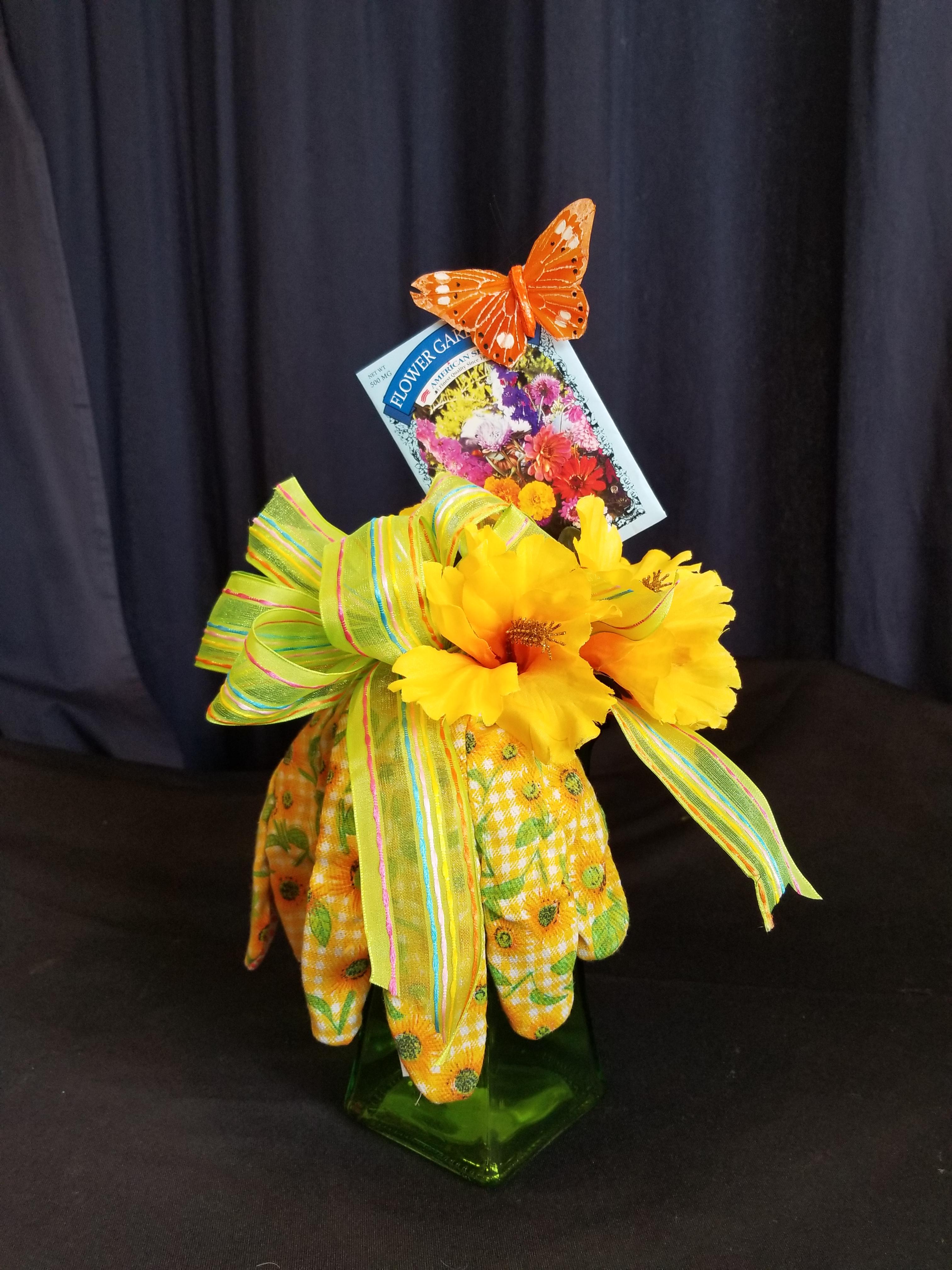 Garden Basket Green Glove Vase Aurora Il Florist