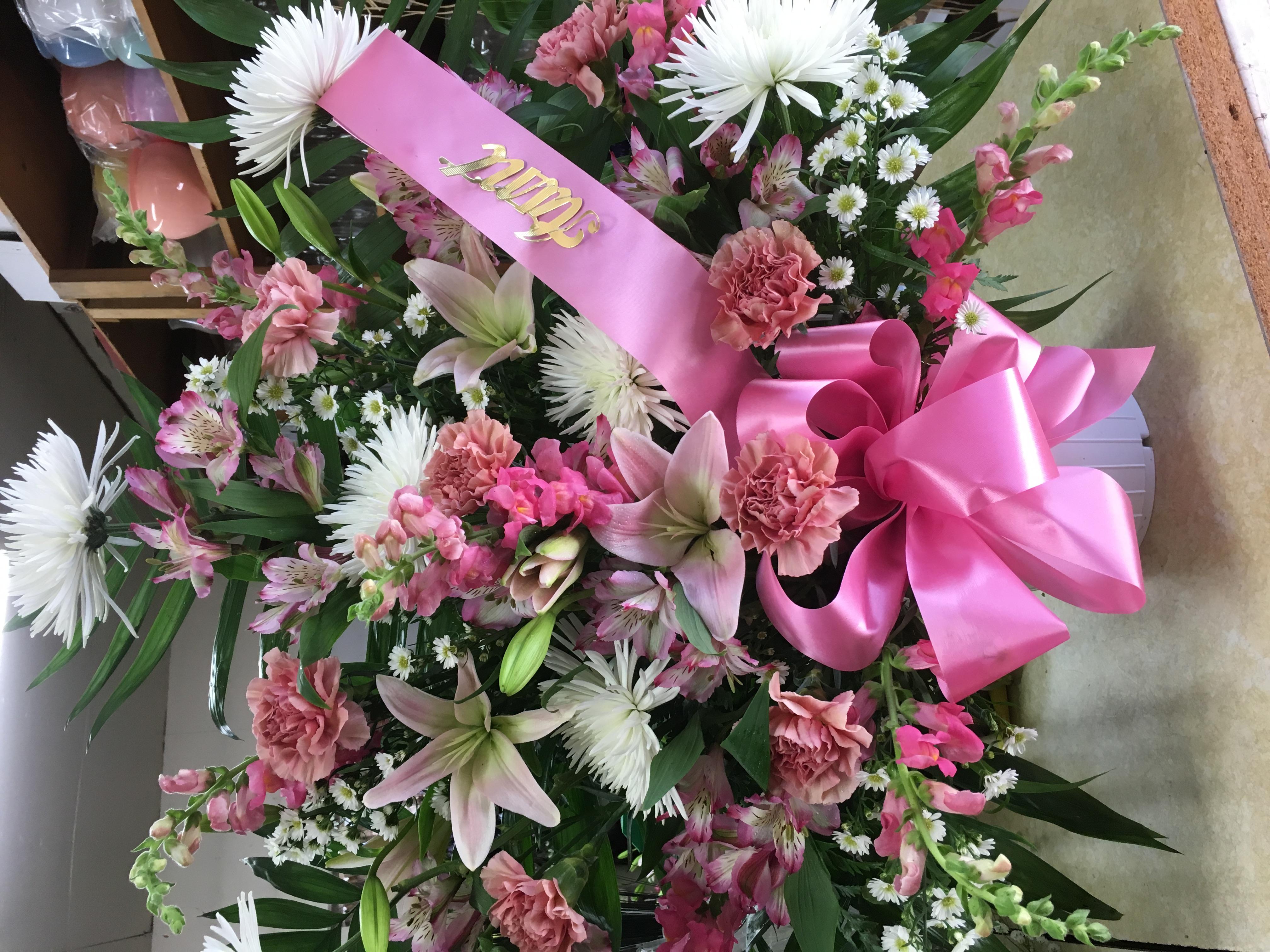 Shades Of Pink Funeral Basket Bristol Pa Florist
