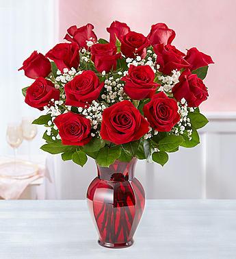 red rose eighteen in red vase charlotte nc florist