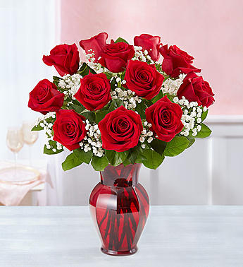 Red Roses One Dozen In Red Vase Charlotte Nc Florist