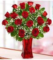 Eighteen Red Roses in Red Vase