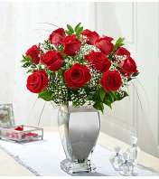 One Dozen Red Roses in Silver Vase