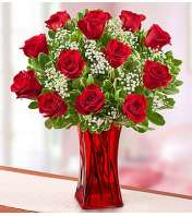 One Dozen Red Roses in Red Vase