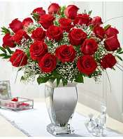 Two Dozen Red Roses in Silver Vase