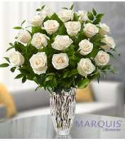Eighteen White Roses by Waterford® Marquis Vase