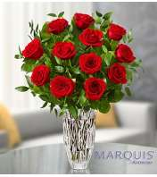 One Dozen Red Roses in Marquis by Waterford® Vase