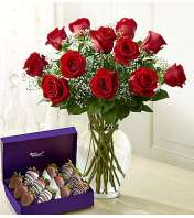 1 Dozen Red Roses with 1 Dozen Strawberries