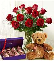 1 Dozen Red Roses with Strawberries & Bear
