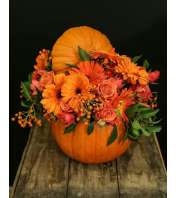 CERAMIC PUMPKIN WITH FLOWERS