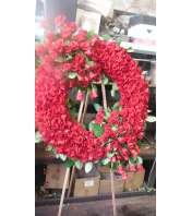 all red rose wreath