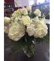 all white vase arrangement
