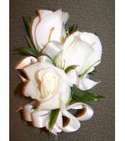 White Rose and Satin Ribbon Corsage