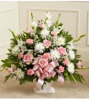 Tribute Pink & White Floor Basket