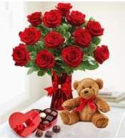 12 Red Roses Candy and Bear