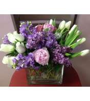 classi bouquet in lavender and white