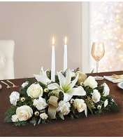 White and Gold Holiday Centerpiece