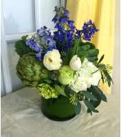 Blue & Green Cylinder Centerpiece