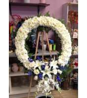 peaceful white and blue wreath