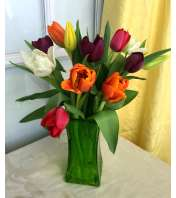 Tulips in Green Square Vase