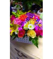 Basket filled  with  blooms
