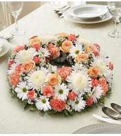Peach, Orange and White Centerpiece