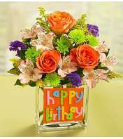 Happy Birthday Bouquet in Rectangle Vase