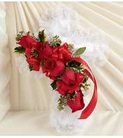 Satin Cross Pillow in Christmas Colors