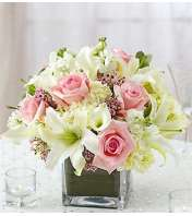 Pink and White Centerpiece in a Vase