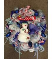 Snowman and Candy Canes Wreath