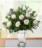 Premium White Roses in Silver Vase