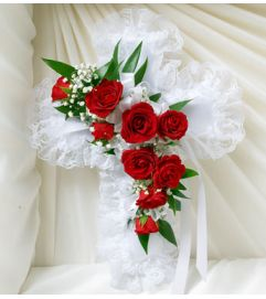 Red & White Satin Cross