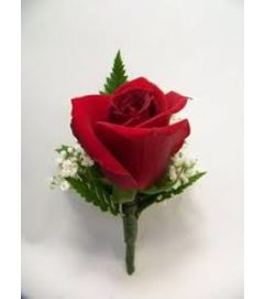 Single Red Rose Boutonniere pick up only