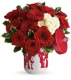 Roses and Holly Bouquet