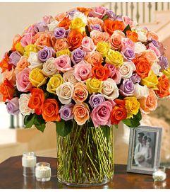 Long Stem Multicolored Roses 100 Premium