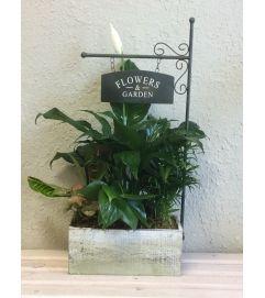"""Flowers & Garden"" Wood Box Planter"