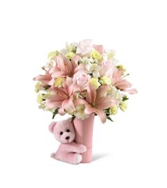 The Baby Girl Big Hug® Bouquet by FTD® - VASE INCLUDED