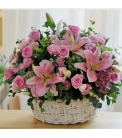 Beautiful Pink Floral Basket