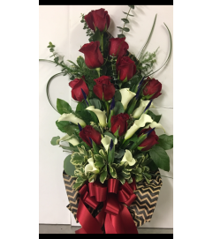 Wrapped Red Roses and Calla Lilies