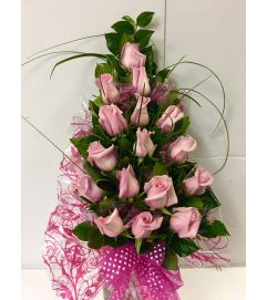18 Stem Wrapped Pink Roses