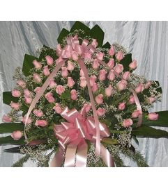 Pink Rose Standing Basket