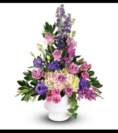 Purple Blooms Sympathy Basket Urn