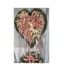 Bleeding Heart Pink Roses with White Lillies