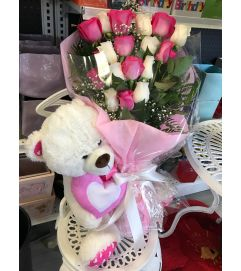 Hand-tied Bouquet with Teddy Bear